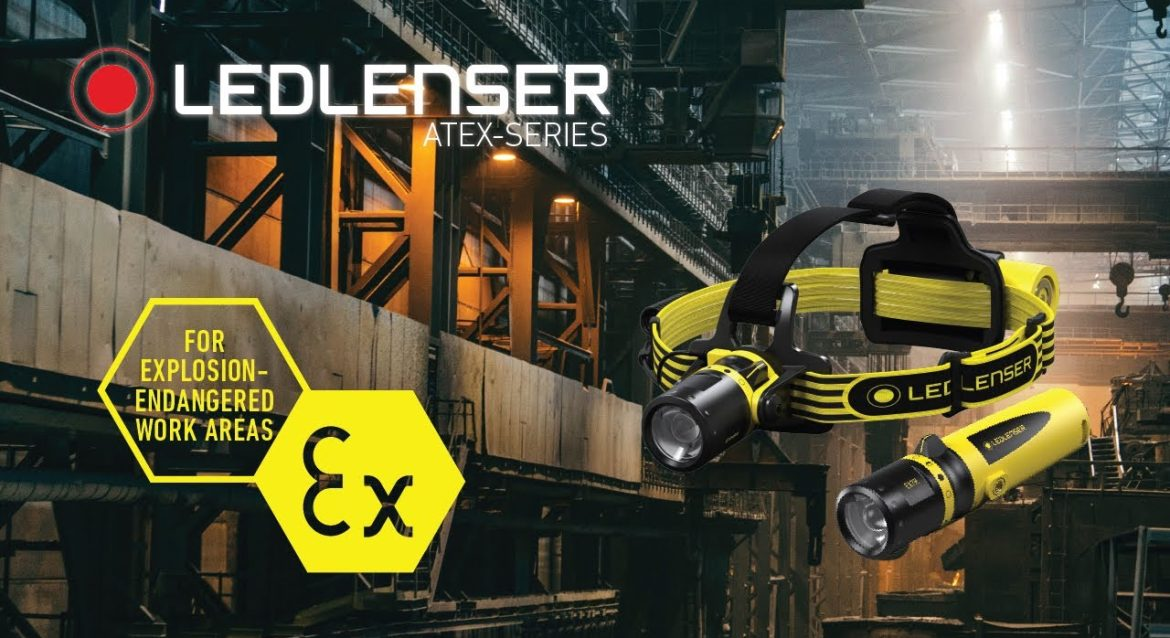 LED Lenser Head torch and hand torch in industrial setting